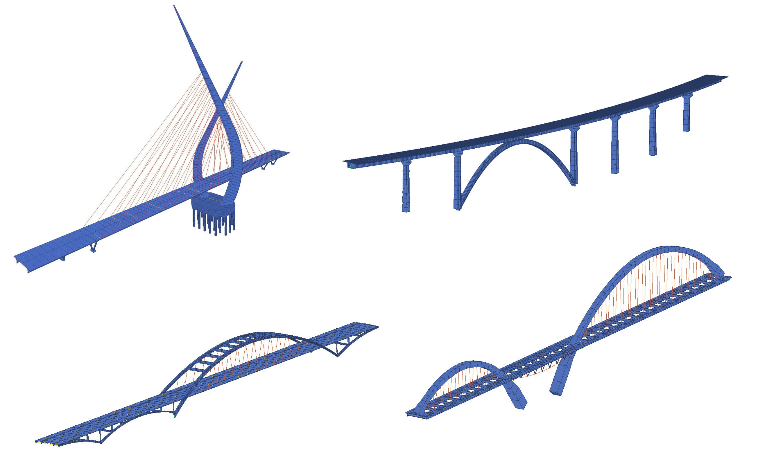 Design and analyze cable stayed suspension and arch bridges