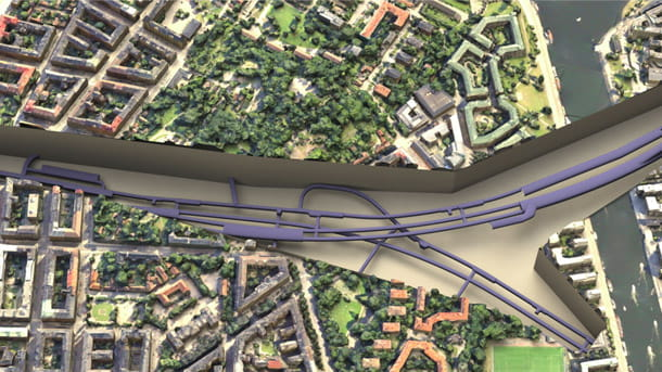 Stockholm Metro extension overhead view